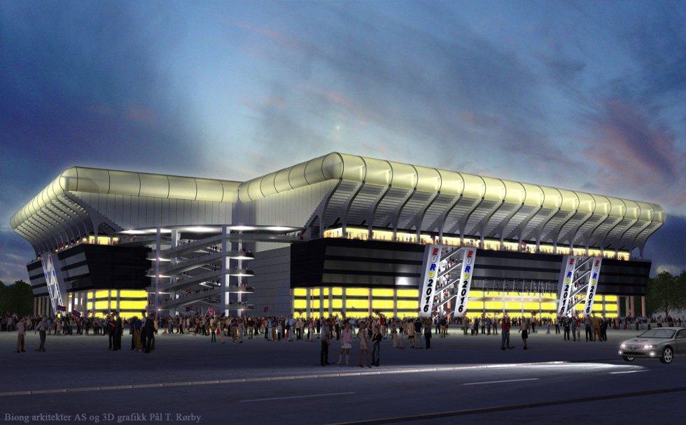 KVELD: Slik vil LSKs nye stadion se ut på kveldstid og seine kamper. Den øvre delen av tribunen kan bygges ned etter mesterskapet og bli tribunen i       andre fotballanlegg. Da kan også den nedre delen bygges ut for næringsvirksomhet eter behov. ALLE ILLUSTRASJONER: BIONG ARKITEKTER AS