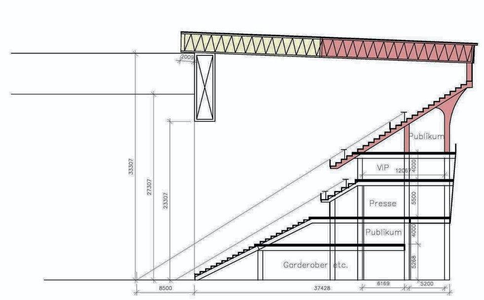 TO PLAN: Den øverste delen av tribunen fjernes etter EM, og taket senkes ned, slik at stadion vil romme 20.000 tilskuere. En ti meter tykk drager går rundt hele stadion og gjør at det ikke finnes stolper som hindre utsikten.