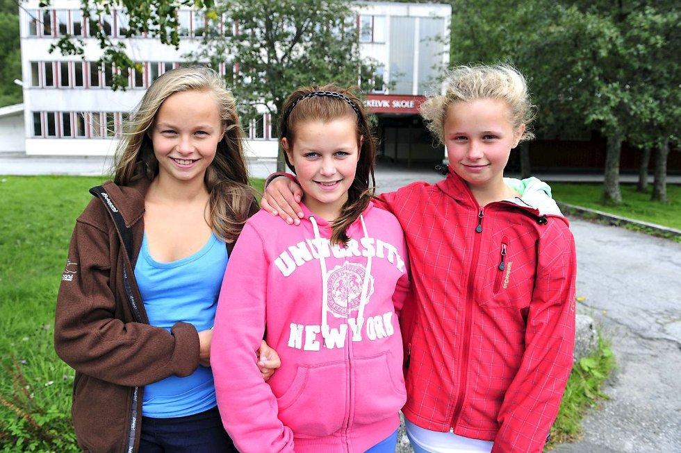 FÅR MER SØVN: ? Vi merker at vi er mer opplagte når vi får sove en time ekstra, sier 7-klasse-elevene Maren Holme, Susanne Strømmen og Tonje Monsen Grøvle.