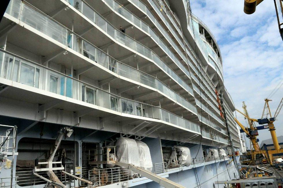 Oasis of the Seas begynner å ta form. (Foto: Thomas Hildonen, ANB)
