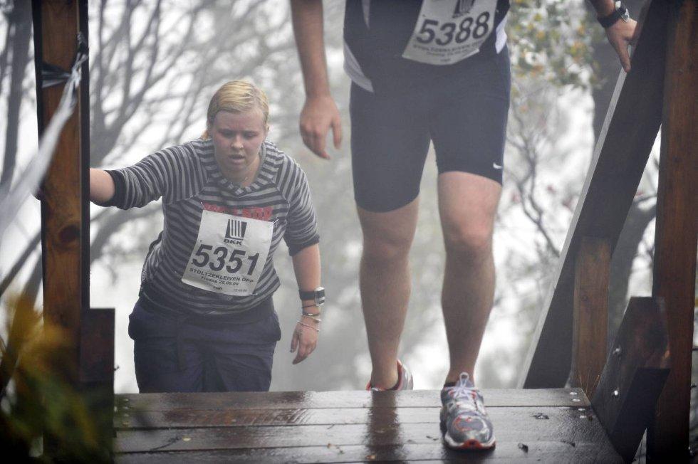 Siri Kleppe kjemper seg opp de siste trappene før mål.  (Foto: Eirk Hagesæter)