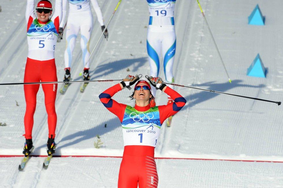 Marit Bjørgen van OL-gull på sprinten i OL.