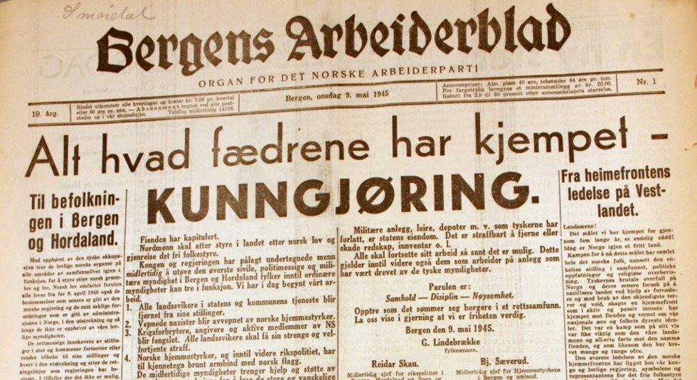Bergens Arbeiderblad kom ut igjen 9. mai 1945.