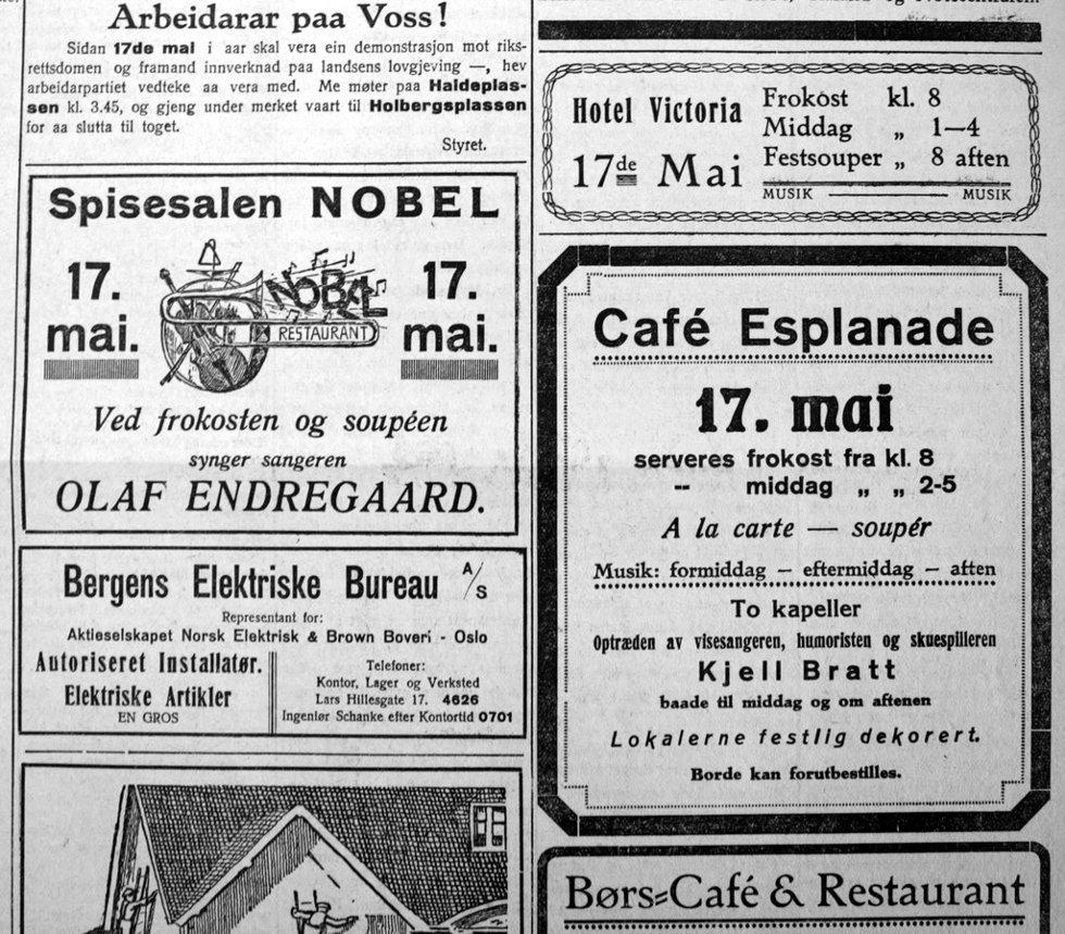 Annonser i Bergens Arbeiderblad før 17. mai i 1927. Som vi ser er det nok av spisesteder som skal holde åpent på nasjonaldagen (men andre steder i avisen kan vi lese om overhengende fare for kelnerstreik!). (Foto: )