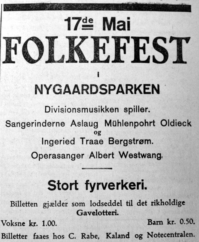 17de Mai - Folkefest i Nygaardsparken. Oppslag i Bergens Arbeiderblad, 1927. (Foto: BA)