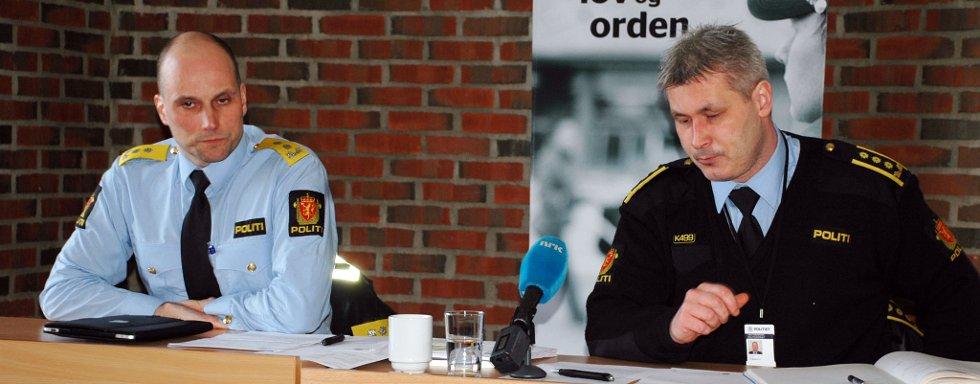 Torbjørn Aas (til venstre) og Terje Wikstrøm på pressekonferansen fredag morgen.