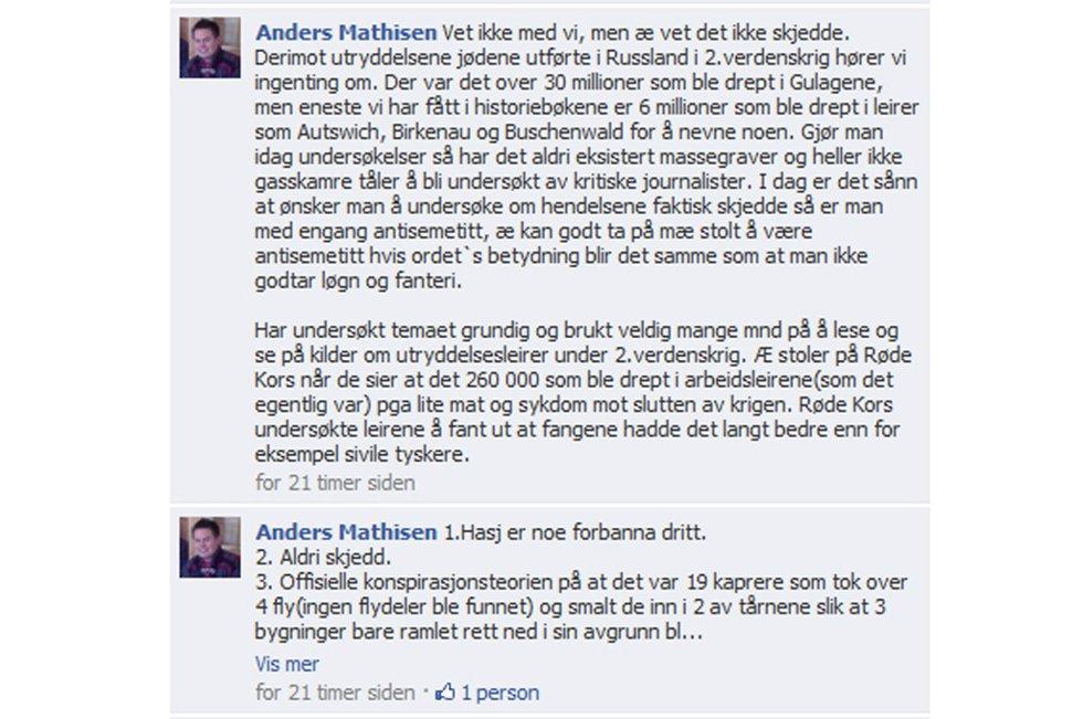 Sametingspolitikeren for Arbeiderpartiet kommer med ytringene på Facebook. Der avviser han at jødeutryddelsene har skjedd.