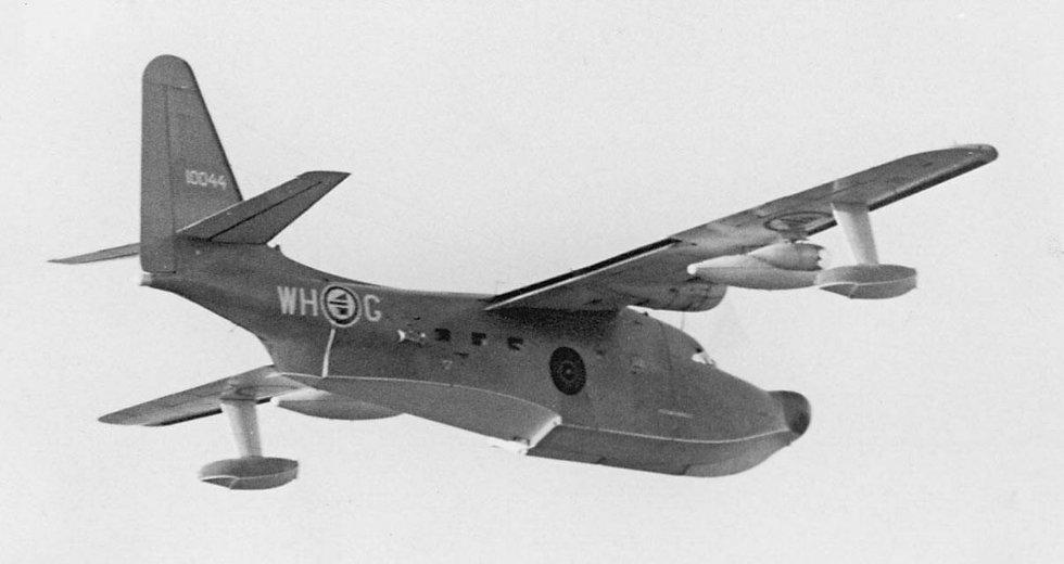 Albatross-maskin fotografert under prøveturen over Stokka den 16. februar 1967. Bilde utlånt av Steinbjørn Mentzoni (Foto: )