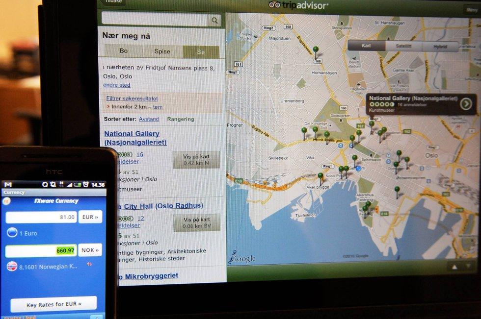 Reiserådgiver'n og valutakalkulatoren er to fine apps å ha med seg på tur.