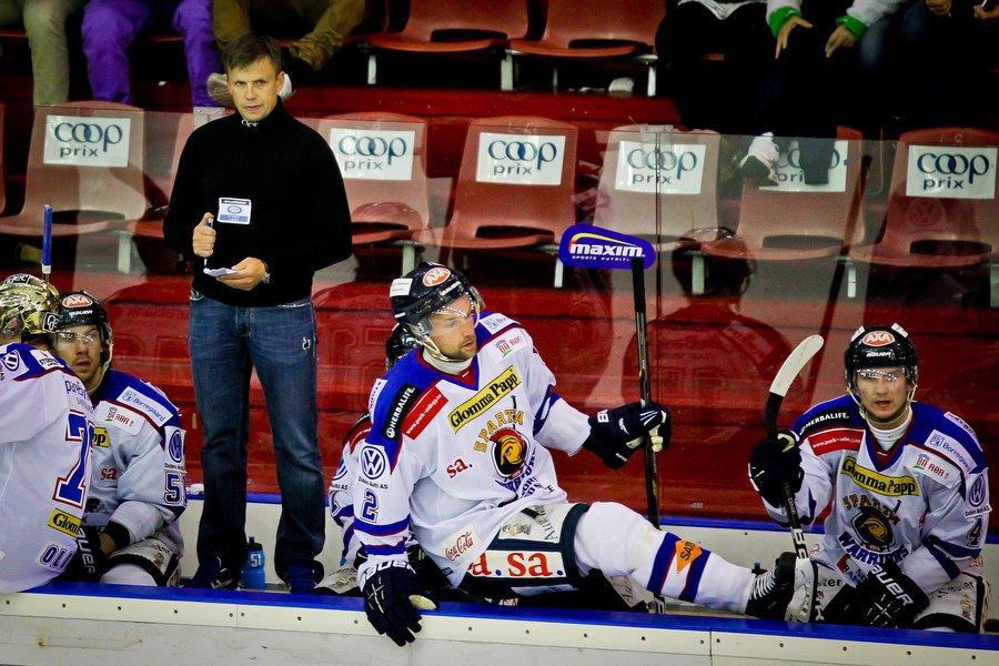 GET ligaen , Ishockey , 17.09.2010 , Jordal Amfi , Vålerenga v Sparta , Sjur Robert Nilsen og Per Tengvert , Foto: Thomas Andersen (Foto: Thomas Andersen)