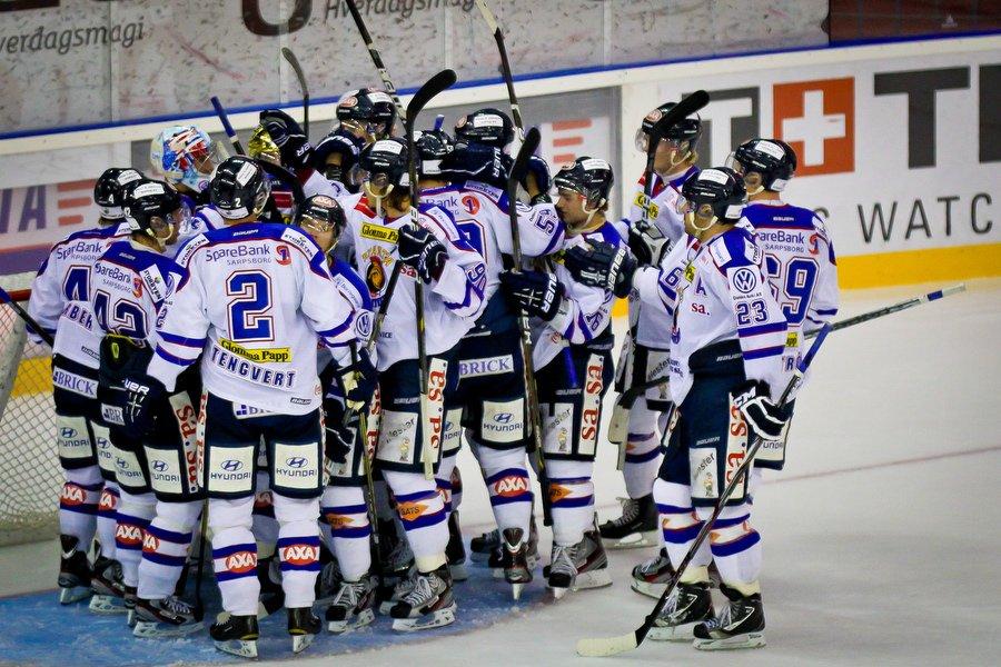 GET ligaen , Ishockey , 17.09.2010 , Jordal Amfi , Vålerenga v Sparta , Sparta jubler for seier , Foto: Thomas Andersen (Foto: Thomas Andersen)