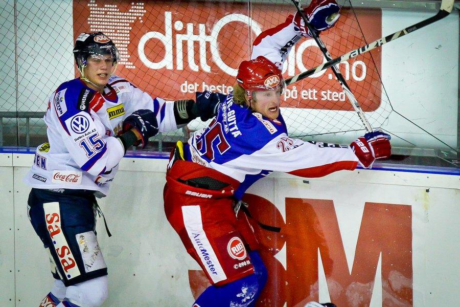 GET ligaen , Ishockey , 17.09.2010 , Jordal Amfi , Vålerenga v Sparta , Tommy Kristiansen og Shay Stephenson, Foto: Thomas Andersen (Foto: Thomas Andersen)
