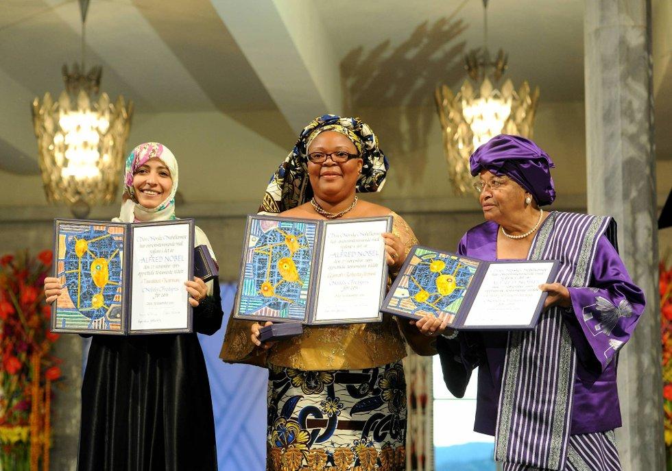 Tawakul Karman, Leymah Gbowee og Ellen Johnson-Sirleaf mottok Nobels Fredspris lørdag ettermiddag. (Foto: Terje Pedersen, ANB)