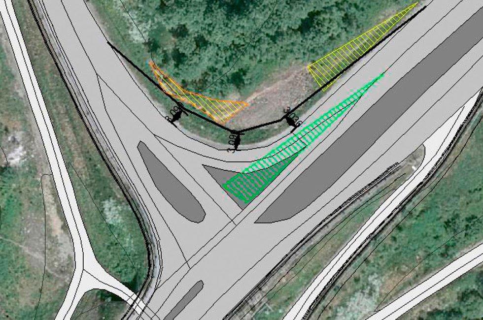 Slik foreslår Gunnar Hoff at krysset Kystriksveien - Forshaugen skal se ut, med avkjøringsfil fra Kystriksveien flyttet mot høyre og midtrabatt på veien. Skisse: Gunnar Hoff (Foto: )