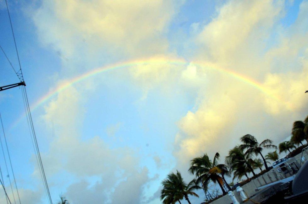 Regnbuen en tidlig morgen på Port St. Charles helt nord på øya.  (Foto: Terje Alstad, ANB)