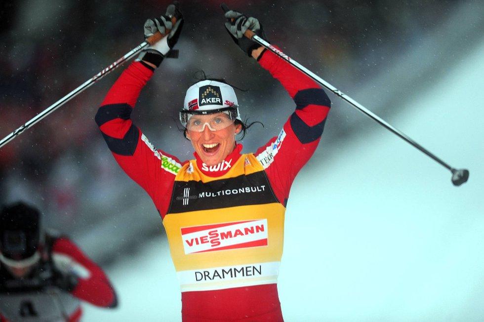Marit Bjørgen vant sprinten i Stockholm.