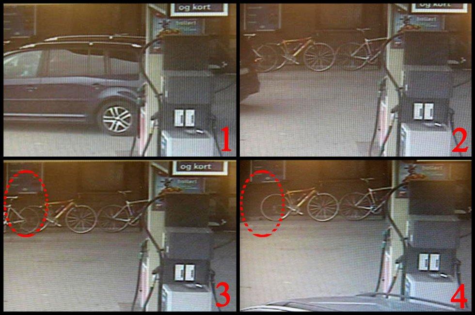 FREKT SYKKELTYVERI: 1: Den blå bilen av typen VW Touran har akkurat fylt bensin og fått øye på de fire racer-syklene som står lent mot beninstasjonsveggen. 2: Sjåføren parkerer bilen og går ut av bilen. 3: Sykkelen står fortsatt på plassen sin. 4: Sykkelen er borte. Sjåføren har rasket den med seg, slengt den inn i bagasjen på bilen og kjørt av gårde. FOTO: OVERVÅKINGSBILDER/ESSO