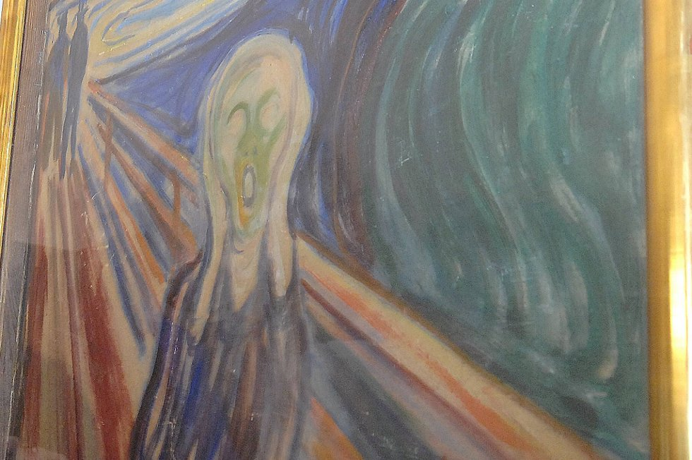 Det ikoniske kunstverket skal auksjoneres bort hos Sotheby's i New York 2. mai. Men torsdag ble det for første gang vist fram offentlig hos auksjonshuset i London.