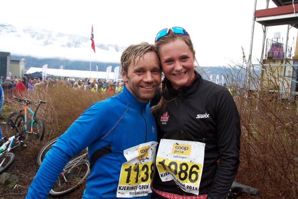 STORESLEM: Det vart Luster sin dag med siger i både herre og dameklassen. Nøgde vinnarar Bertine Thorsnes Lefdal og Jonny Øvrebø.