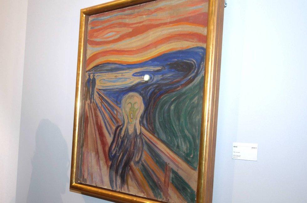 Ett av «Skrik»-maleriene henger på Munch-museet i Oslo. Dette er ikke bildet som natt til torsdag går under hammeren i New York.