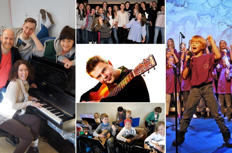 """Flere lokale aktører står på lokale scener i helgen: Musikalen """"One moment"""" (til venstre) spilles lørdag og søndag, mens ArtKompaniet (til høyre) og Ex-Art (øverst) har konsert med MiniKompaniet søndag. Alf Bretteville-Jensen (midten) spiller på Alfred fredag - samme dag som kulturskolen (nederst) skal ha konsert på Byscenen."""