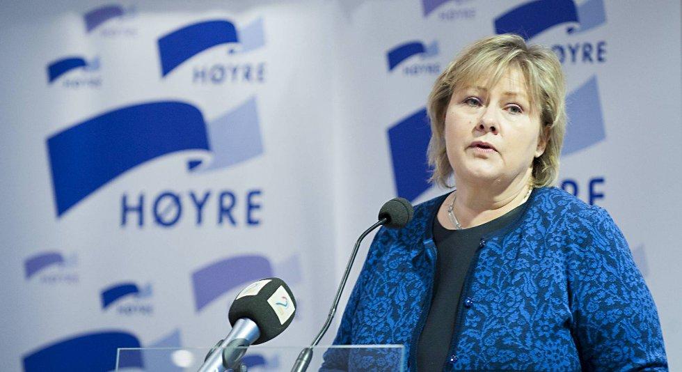Erna Solberg, her fra årsmøtet i Hordaland Høyre. Arkivfoto.