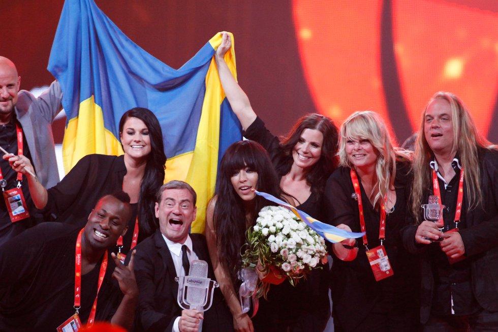 Glade svenske vinnere i Baku.