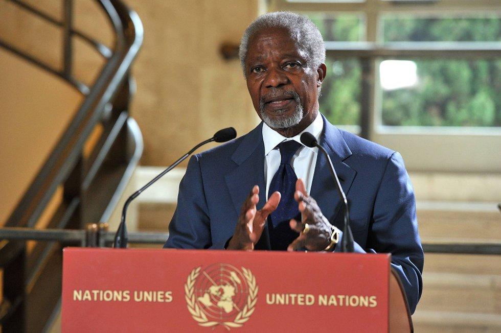 Lederen for gruppen som kaller seg Den frie syriske hær oppfordrer spesialutsending Kofi Annan (bildet) til formelt å kunngjøre at fredsplanen har mislyktes.