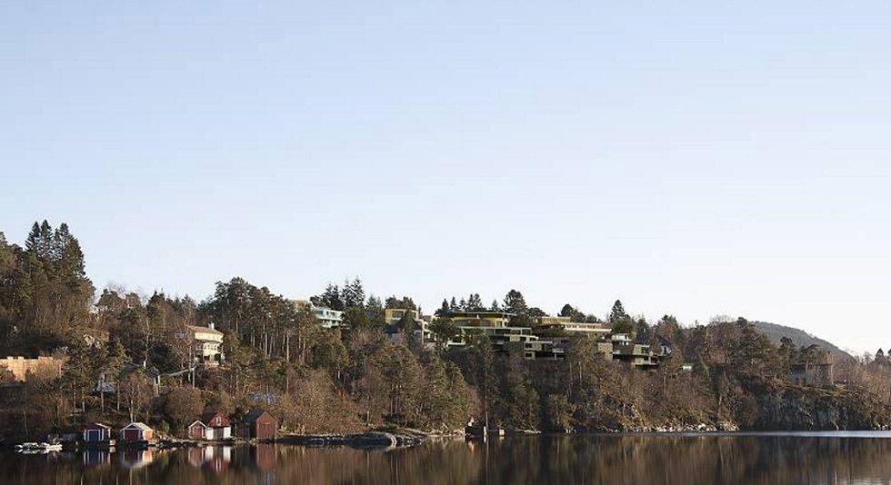 Slik blir utsikten fra Troldhaugen når byggene er ferdig.