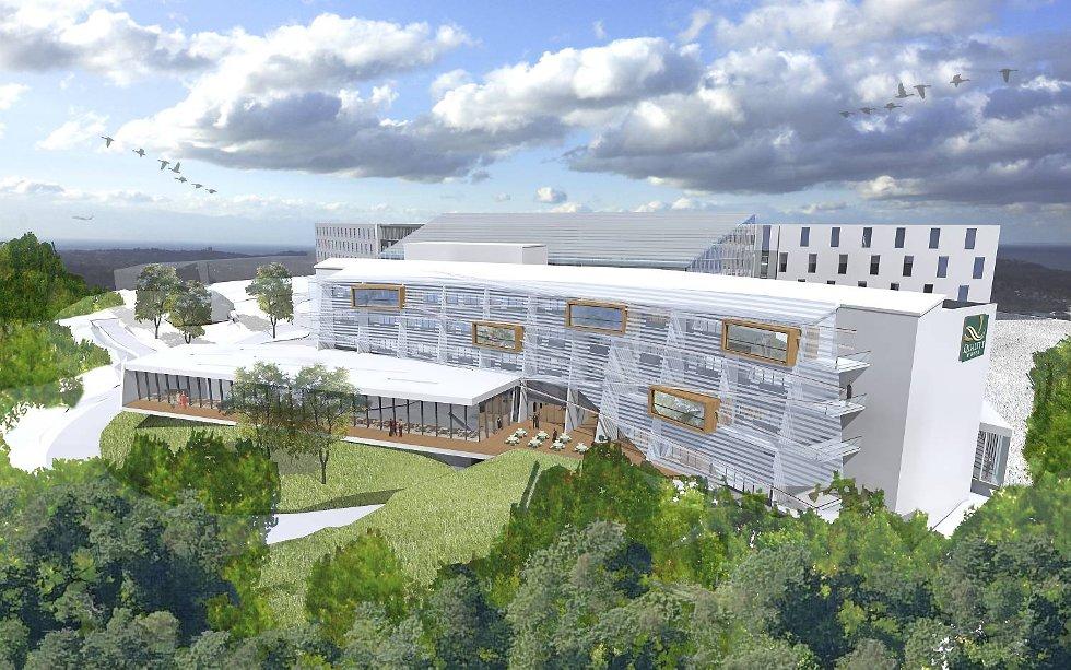 Quality Hotel Edvard Grieg på Sandsliåsen skal ruses opp og bygges ut. Slik skal det se ut ved nyåpning i 2015.