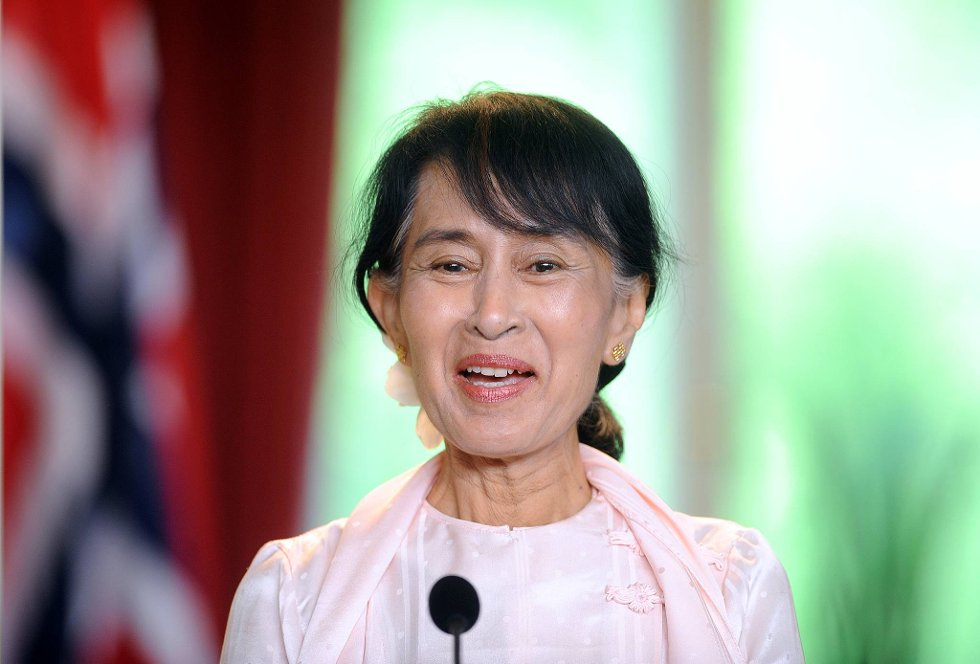 Aung San Suu Kyi takket Norge fredag. (Foto: Terje Pedersen, ANB)