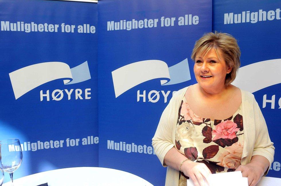 Erna Solberg under pressekonferansen på New Orleans i Oslo torsdag formiddag.