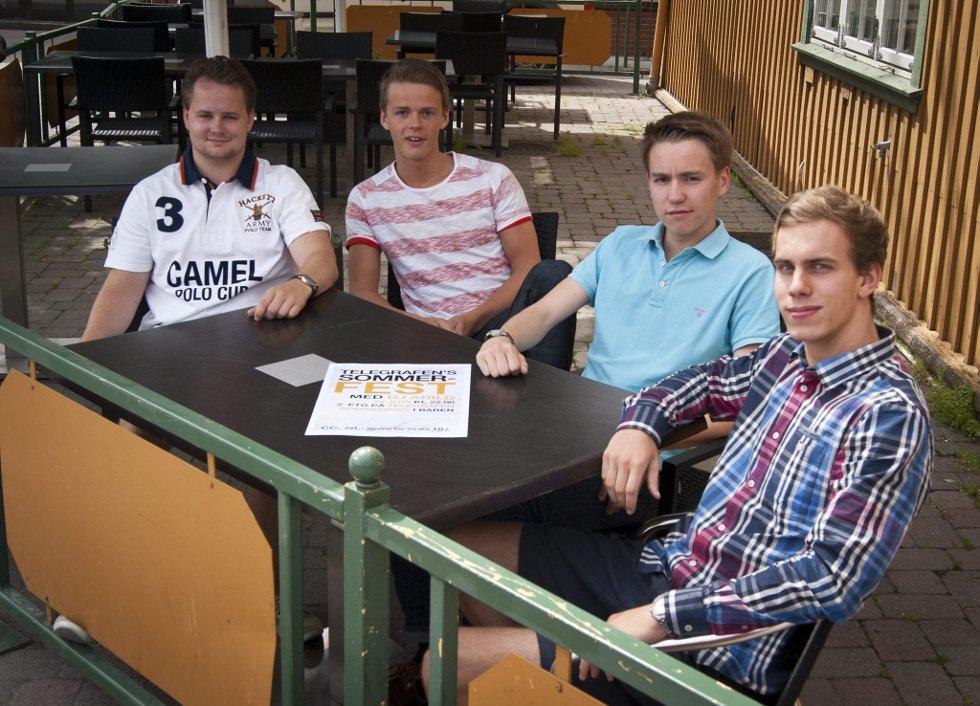 FESTSTEMTE: Lasse Skyrud (fra venstre), Arild Håland, Andreas Skjæret og Matias Hynne inviterer til fest for alle over 18 år på Telegrafen den 29. juni. bilder: Mats Brustad