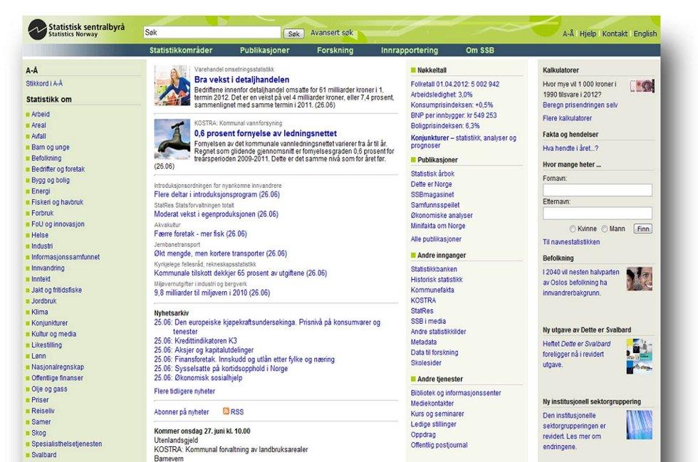 Slik ser SSBs nåværende nettside ut.