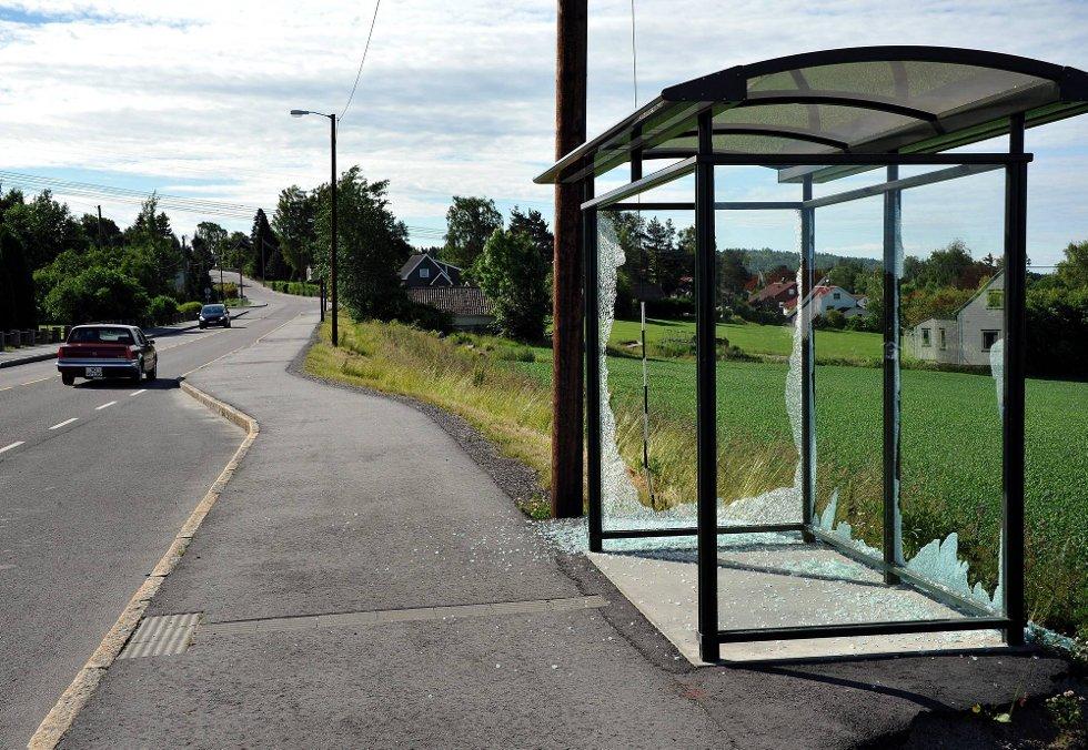 ØDELAGT BUSSKUR: Det ene busskuret ved Moensletta på fylkesvei 118 i Skjeberg er i løpet av de siste dagene blitt ramponert. Flere glassruter i skuret er totalt smadret. (Foto: Jarl M. Andersen)