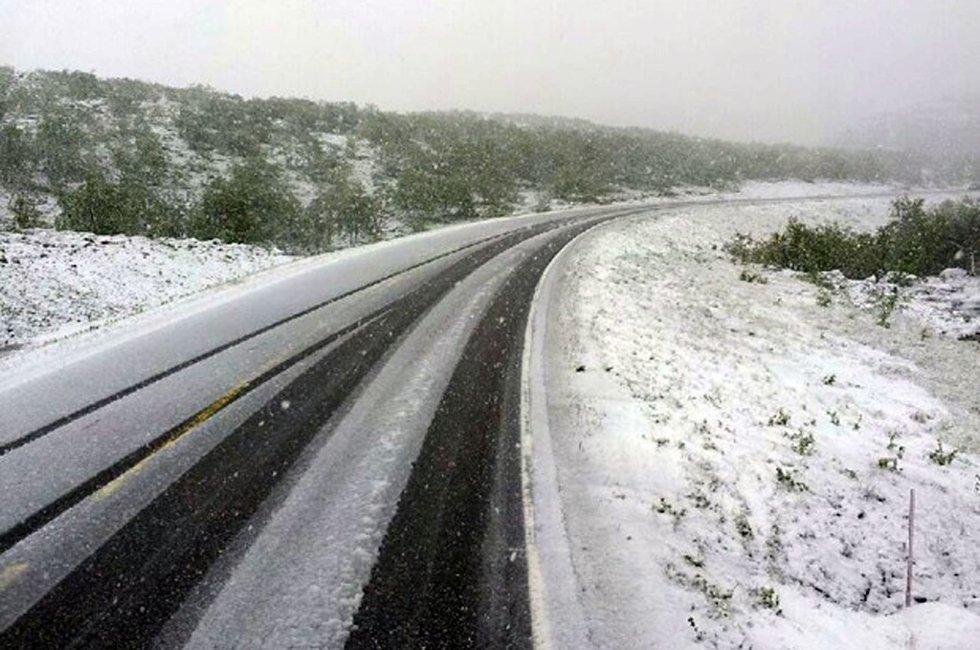 Slik så det ut på E6 mot Kirkenes torsdag morgen.