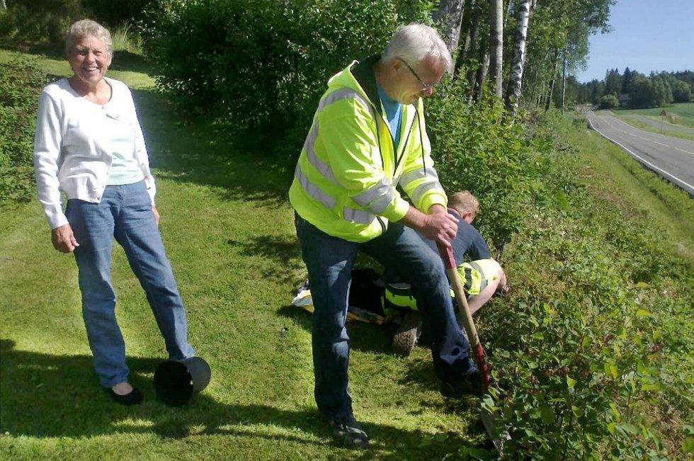 Randi Berger fikk ny hekk av Statens vegvesen. Mandag var Reidar Otto Andersen og NCC ute og plantet den.