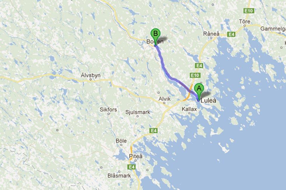Det er ca. 35 km mellom Luleå og Boden.