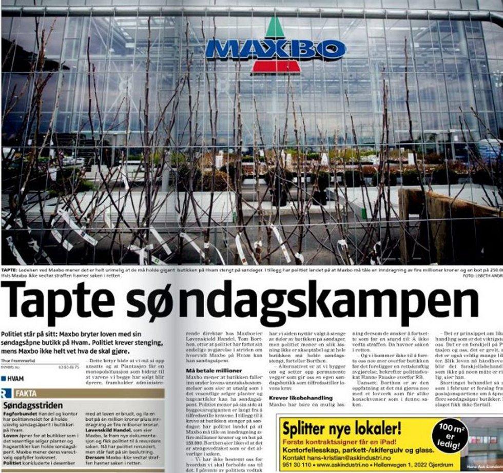 BRØT LOVEN: Romerikes Blad 26. april 2012.