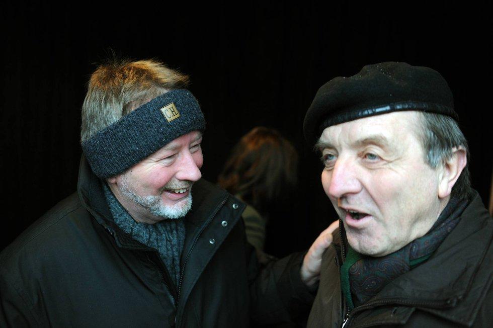 Fellesforbundets leder Arve Bakke og LO Oslo-sjef Roy Pedersen under en av demonstrasjonene mot vikarbyrådirektivet.