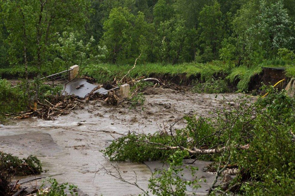 Dette var ei gang en bru, men nå ligger den under vann omkranset av trær, gjørme og stein.