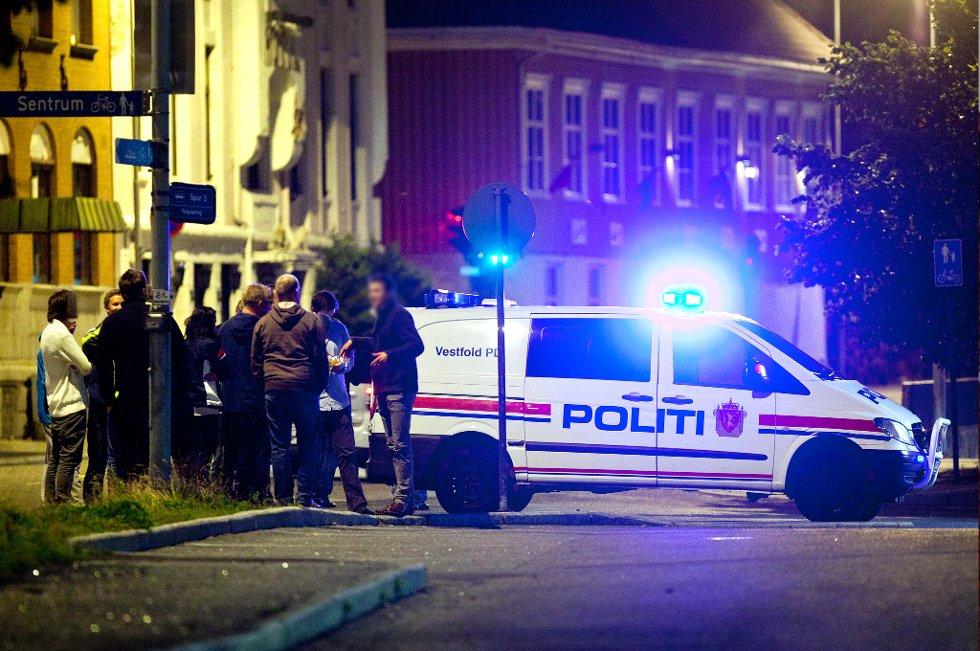 Svært ampert i Larvik sentrum natt til søndag