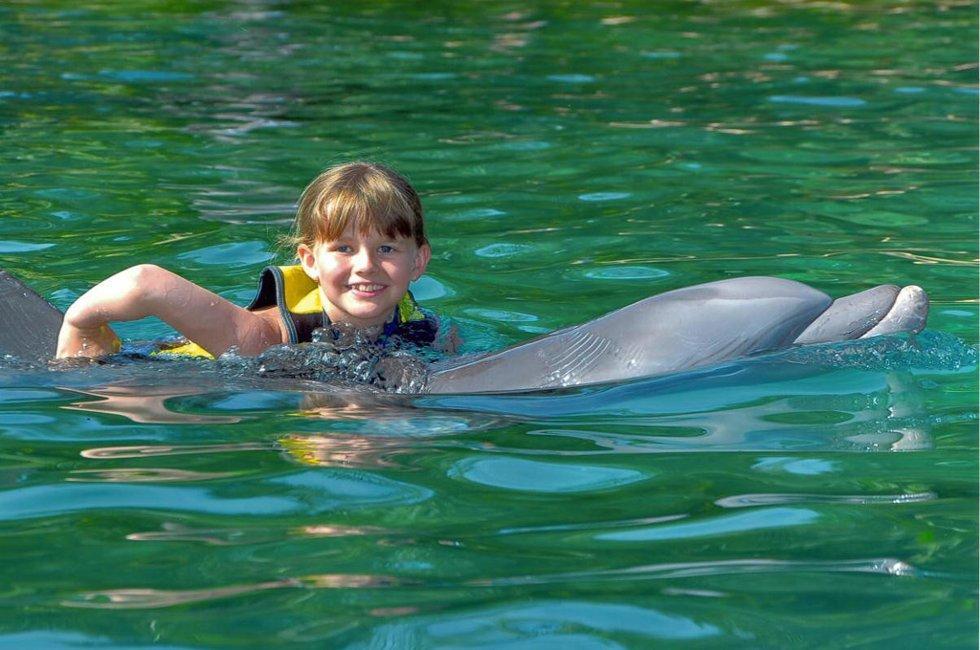 Discovery Cove, Orlando: Omsider ble drømmen min virkelighet! Jeg har svømt med delfiner. Fortsatt god sommer til mormor og bestefar, og farmor og farfar. Sommerhilsen fra Iselin. Foto: Kristin Roos Aas. (Foto: )