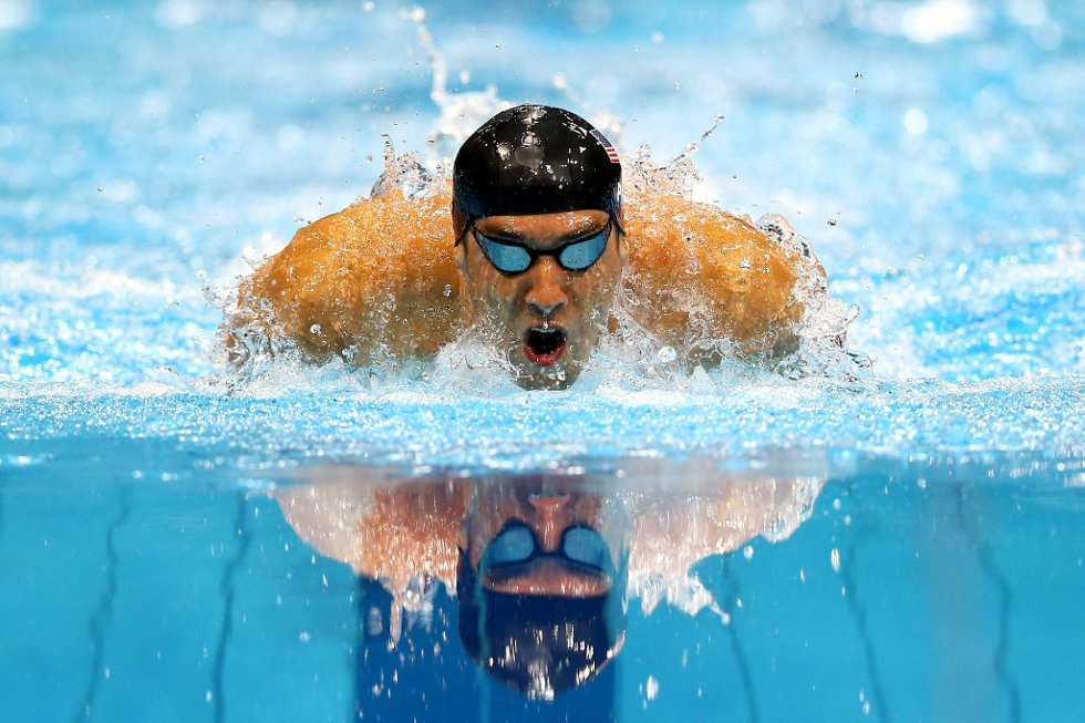 Michael Phelps under 4 x 100 meter medley.  (Foto: Al Bello, Getty Images/All Over Press/ANB)