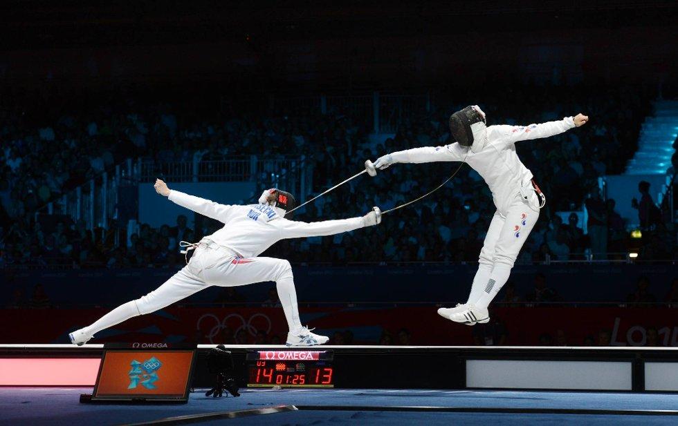 Her setter Bartosz Piasecki inn det avgjørende støtet mot sørkoreaneren Jung Jin-sun i semifinalen i kårde. (Foto: Vidar Ruud, ANB)