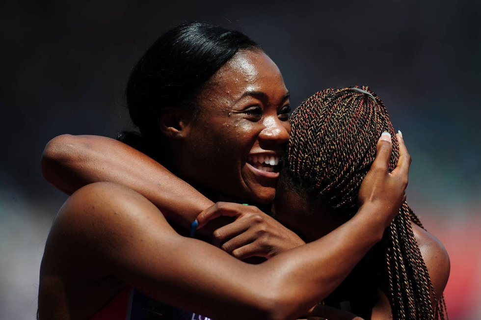 Sååå glad ble Marlena Wesh fra Haiti etter 400 meter-heatet. (Foto: Stu Forster, Getty Images/All Over Press/ANB)