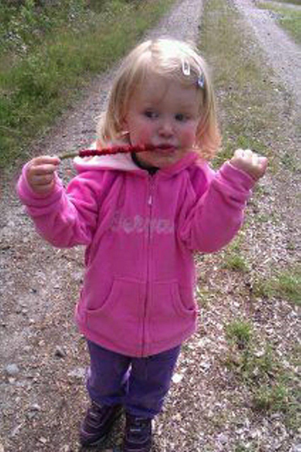Mathilde Martinsen Ringstad elsker markjordbær! Og de var det mange av ved Sagstusjøen. Hun hilser til venner og kjente. Foto: Farmor Gro Ringstad (Foto: )