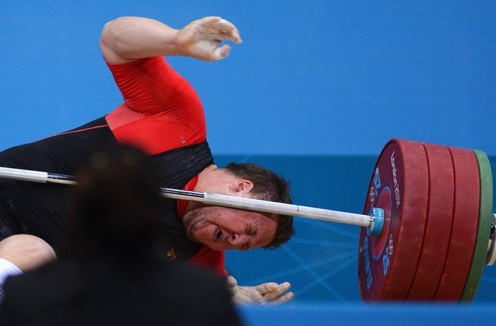 Tyskeren Matthias Steiner var uheldig i OL-finalen i +105-klassen i vektløfting. (Foto: Lars Baron, Getty Images/All Over Press/ANB)
