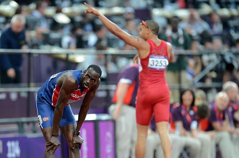 Jaysuma Saidy Ndure klarte ikke å kvalifisere seg direkte til finalen på 200 m.Wallace Spearmon (bak) ble nummer to i heatet. (Foto: Vidar Ruud, ANB)