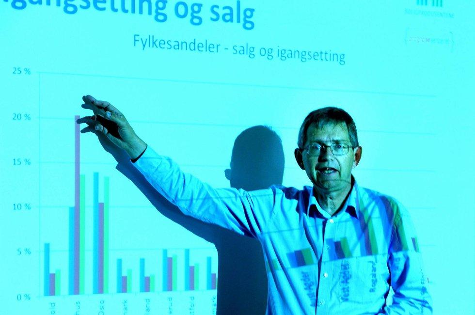 Oppover, oppover! Adm. direktør Per Jæger i Boligprodusentenes Forening er fornøyd med utviklingen på boligmarkedet.